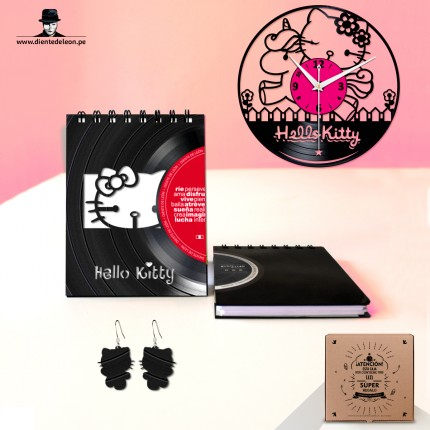 RELOJ + LIBRETA + ARETES HELLO KITTY