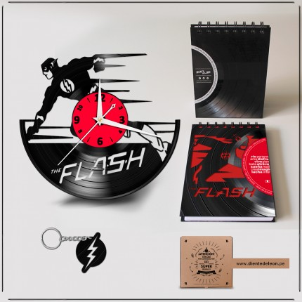 RELOJ + LIBRETA + LLAVERO THE FLASH